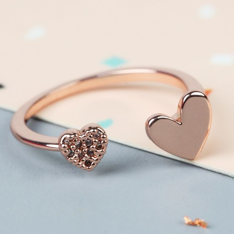 Rose Gold Double Open Heart Ring Jewellery