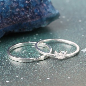 Set of 2 Lotus Flower Rings In Silver S/M