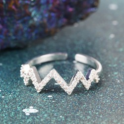 Silver Diamanté Chevron Ring