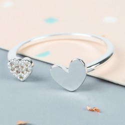 Silver Double Open Heart Ring