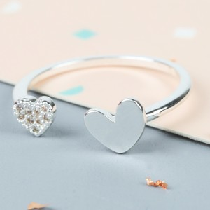 Shiny Heart Gem Open Heart Ring In Silver