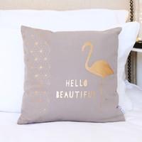Metallic 'Hello Beautiful' Flamingo Cushion