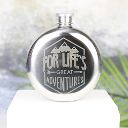 Aluminium 'Life's Great Adventures' 5oz Hip Flask