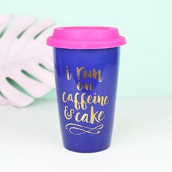 'I Run On Caffeine & Cake' Ceramic Travel Mug