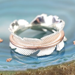 Sterling Silver & Rose Gold Spinning Leaf Ring