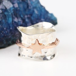 Sterling Silver and Rose Gold Star Spinning Ring