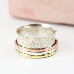 Sterling Silver Mixed Metal Patterned Spinning Ring