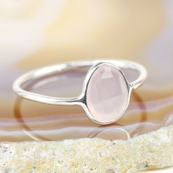 Sterling Silver Rose Chalcedony Ring