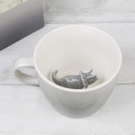 House of Disaster Grey Ombre Origami Dinosaur Mug