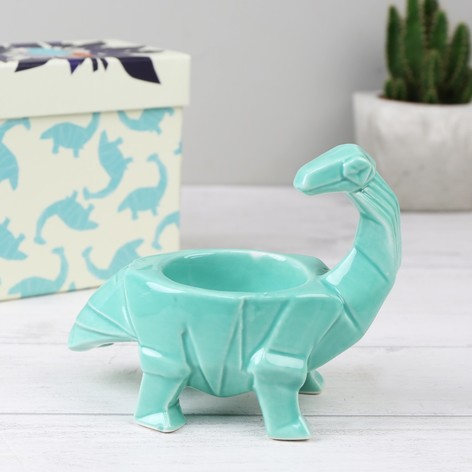 House of Disaster Turquoise Origami Diplodocus Dinosaur Egg Cup