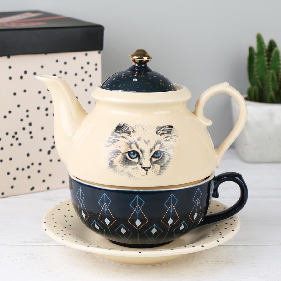 house of disaster meow 39 tea for one 39 teapot set lisa angel. Black Bedroom Furniture Sets. Home Design Ideas