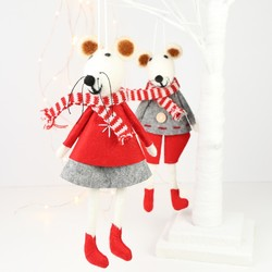 Pair of Christmas Mice Hanging Decorations