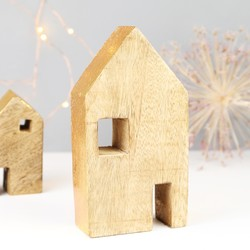 Large Gold Foiled Wooden House Ornament