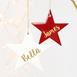 Personalised Enamelled Wooden Star Hanging Decoration