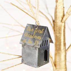 Personalised Iron House Hanging Christmas Decoration