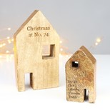 Personalised Set of 2 Gold Foiled Wooden House Ornaments