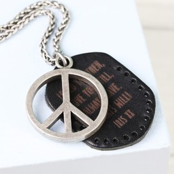 Men's Personalised Peace Sign and Leather Tag Necklace