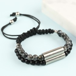 Men's Personalised Semi-Precious Stone Double Stainless Steel Tube Bracelet