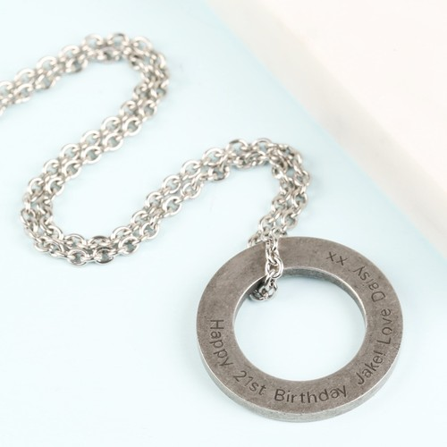 Men's Personalised Stainless Steel Circle Necklace
