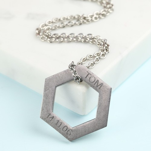 Men's Personalised Stainless Steel Hexagonal Necklace