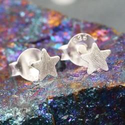 Brushed Sterling Silver Star Stud Earrings