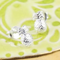 Dainty Sterling Silver Pineapple Stud Earrings