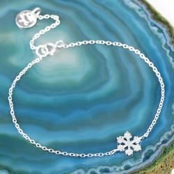 Dainty Sterling Silver Snowflake Bracelet
