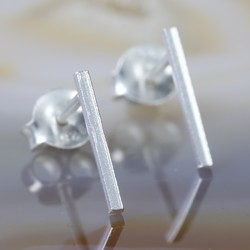 Delicate Sterling Silver Bar Stud Earrings