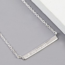 Personalised Dainty Sterling Silver Horizontal Bar Necklace