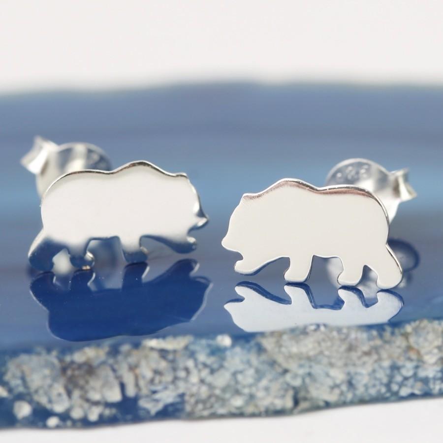 Sterling Silver Shiny Bear Stud Earrings | Lisa Angel