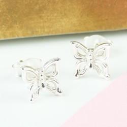 Small Sterling Silver Butterfly Stud Earrings
