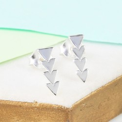 Sterling Silver Arrow Bar Stud Earrings