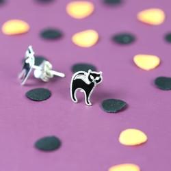 Sterling Silver Black Cat Stud Earrings