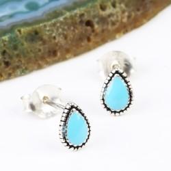 Sterling Silver Blue Enamel Drop Stud Earrings