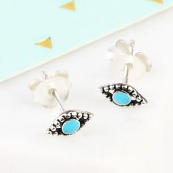 Tiny Sterling Silver Blue Enamel Evil Eye Stud Earrings