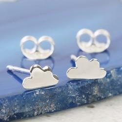 Delicate Sterling Silver Cloud Stud Earrings
