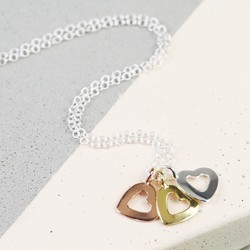 Sterling Silver Cut Out Mixed Metal Heart Necklace
