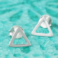 Sterling Silver Cut Out Triangle Stud Earrings