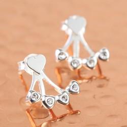 Sterling Silver Diamante Heart Jacket Earrings