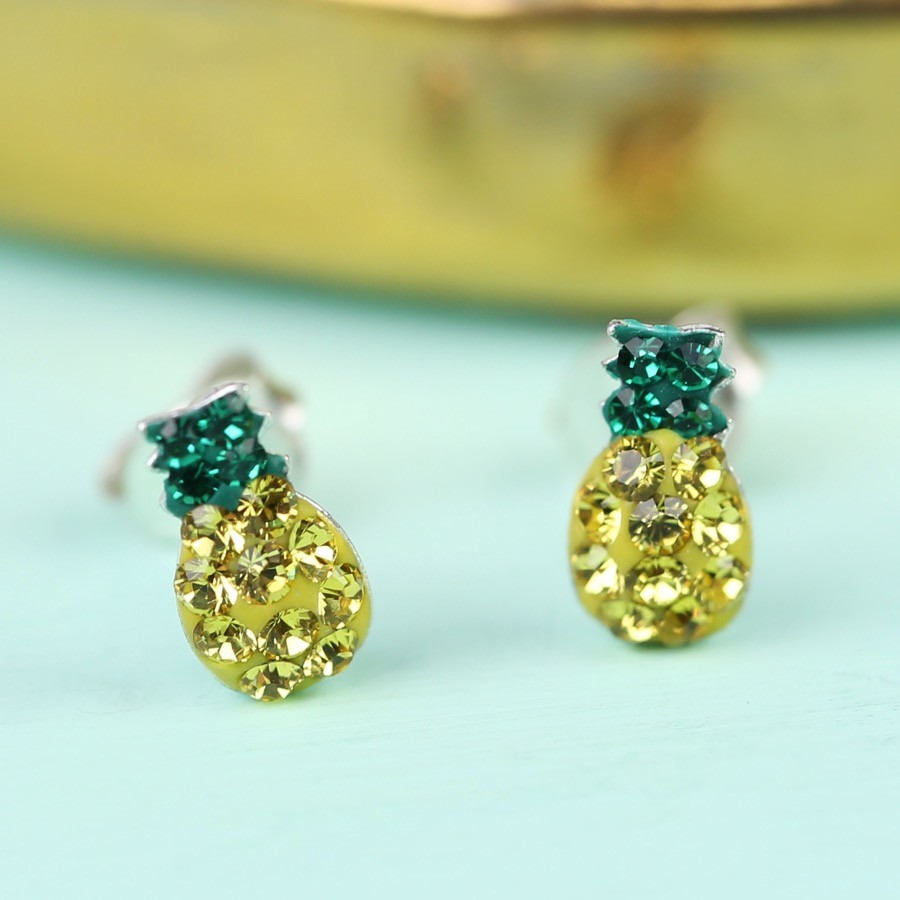 gold jewelry dotoly cute allergy pineapple free stud products shaped in earrings