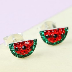 Tiny Sterling Silver Diamante Watermelon Stud Earrings