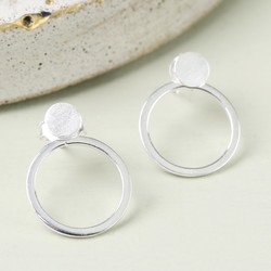 Sterling Silver Disc and Circle Stud Earrings