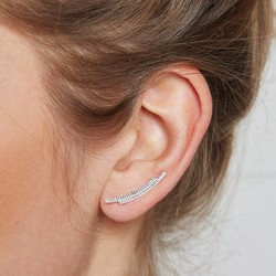 Sterling Silver Double Curved Bar Ear Climbers