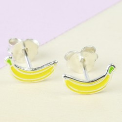 Sterling Silver Enamel Banana Stud Earrings