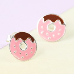 Sterling Silver Enamel Doughnut Stud Earrings
