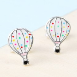 Sterling Silver Enamel Hot Air Balloon Stud Earrings
