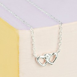 Tiny Sterling Silver Interlocking Heart Necklace