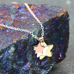Sterling Silver Mixed Metal Triple Star Necklace