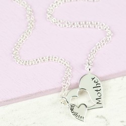 Sterling Silver Mother & Daughter Heart Necklace Set