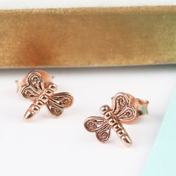 Sterling Silver Rose Gold Dragonfly Stud Earrings
